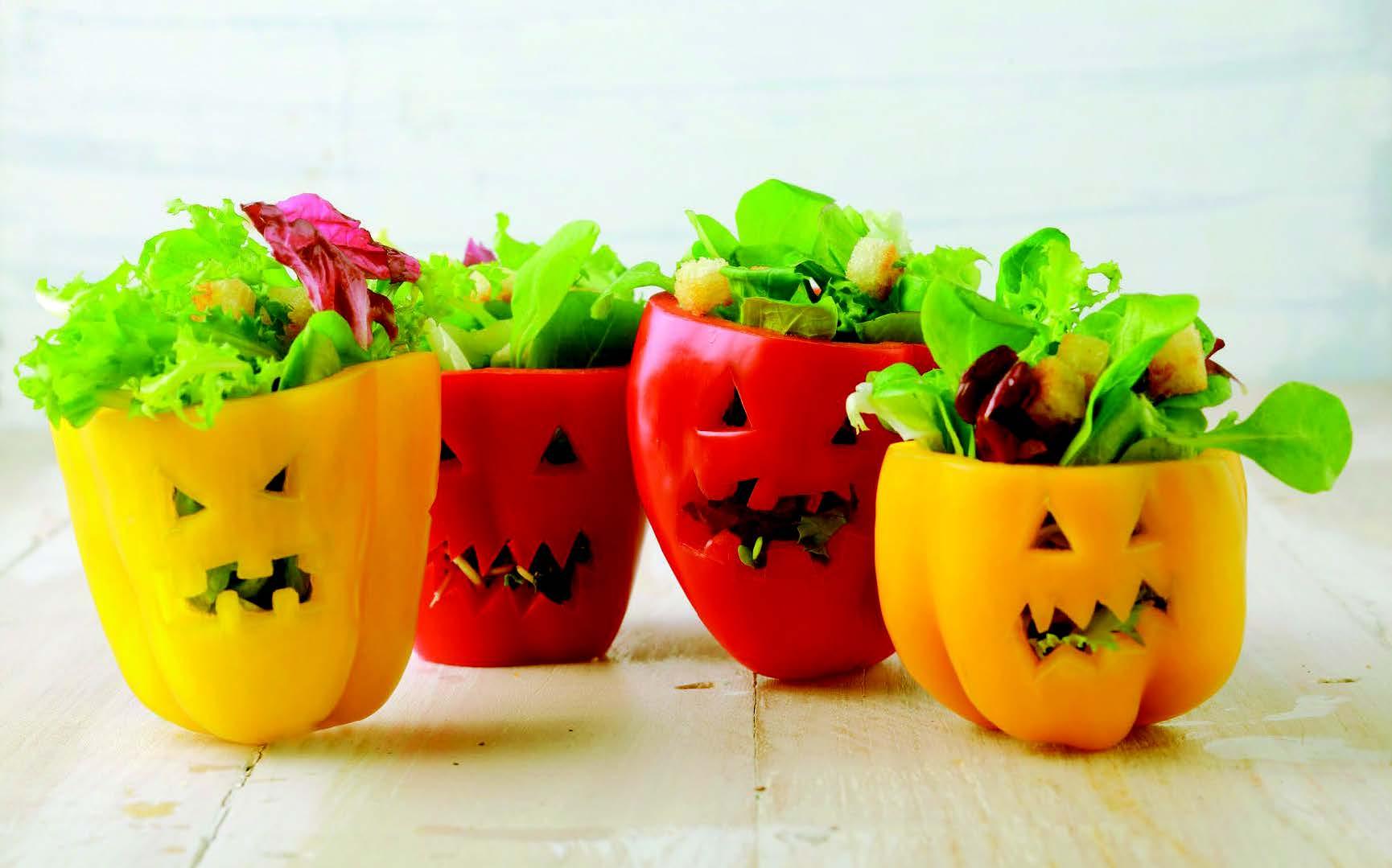 Salade au potiron déguisés en affreux poivrons